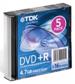 DVD-R 4,7Gb TDK 16-x Slim 5шт/уп арт.